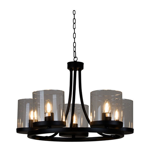 Chaplin Black and Clear Glass 5 Light Chandelier - Lighting.co.za