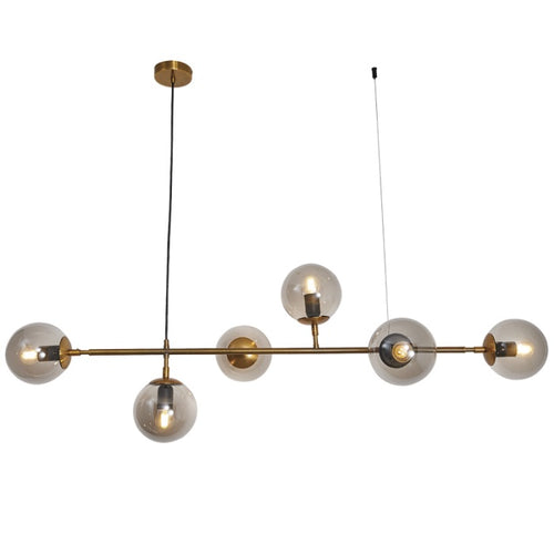 Sphere And Stem Brass And Smoke Glass 6L Pendant Light - Lighting.co.za