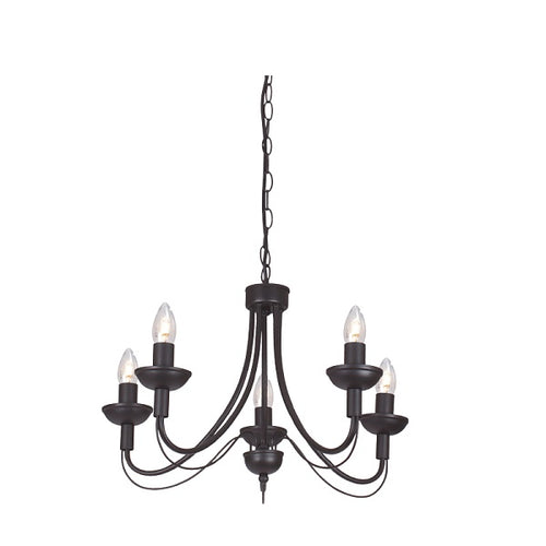 Tilly Plain Black 3 | 5 Light Chandelier - Lighting.co.za