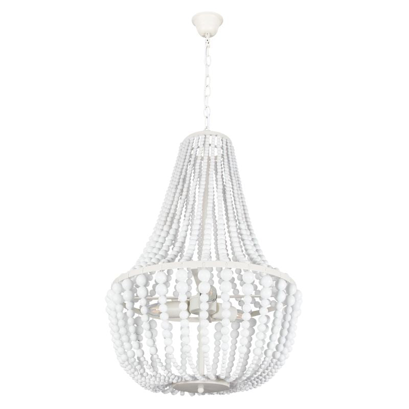 MARLO METAL AND WHITE BEAD 3 OR 8 LIGHT CHANDELIER - Lighting.co.za