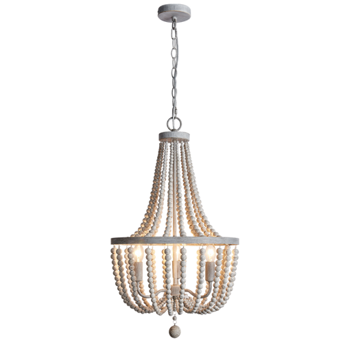 Margo Metal And White Wash Bead 1 | 3 Light Chandelier - Lighting.co.za