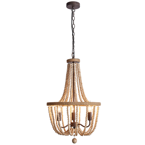 Maya Natural Wooden Bead Chandelier - Lighting.co.za