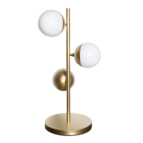 Cosmo 3 Light Satin Gold And White Glass Step Table Lamp - Lighting.co.za
