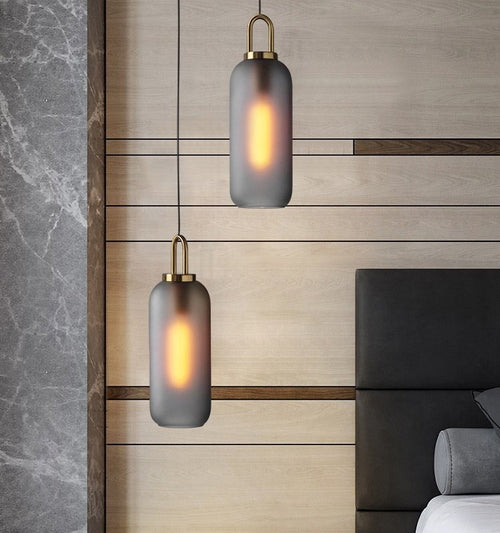 Ebbe Tall Smoke Glass and Antique Brass Pendant Light - Lighting.co.za