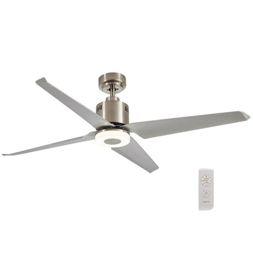 Astrid 4 Blade Satin Chrome LED Ceiling Fan - Lighting.co.za