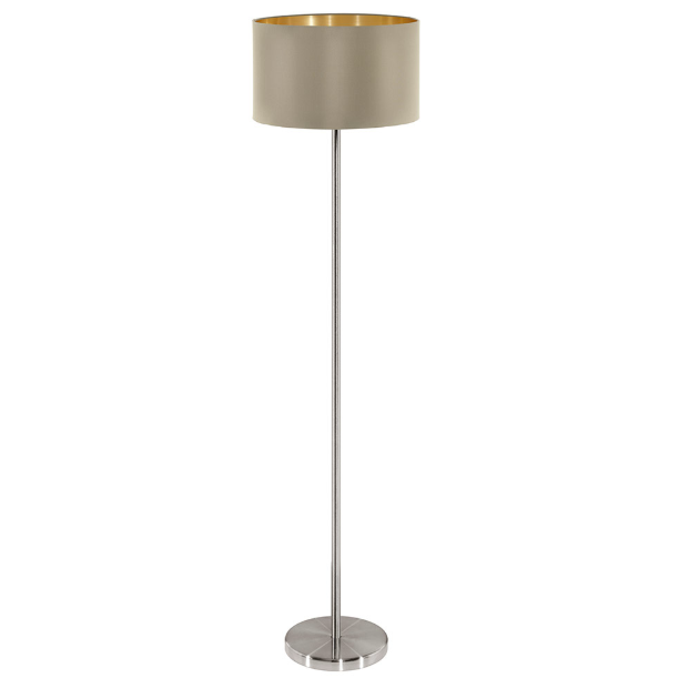 Maserlo Taupe Or Black Shade Floor Lamp - Lighting.co.za