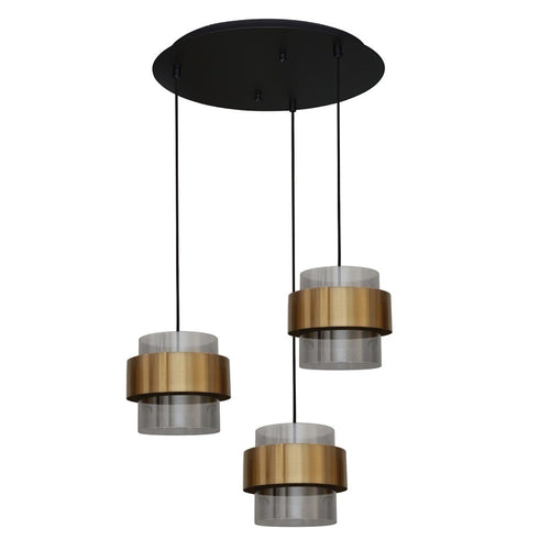 Forma Round Trio 3 Light Antique Brass and Glass Pendant Light - Lighting.co.za
