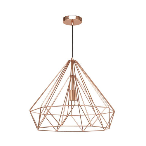 Astrid Wire Copper | Chrome | Black Grid Pendant Light Available In 3 Sizes - Lighting.co.za