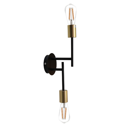 Traverse 2 Light Black Gold Wall Light - Lighting.co.za