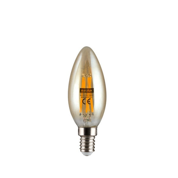 E14 LED Filament Candle 4W 2500K Amber Non Dim E - Lighting.co.za