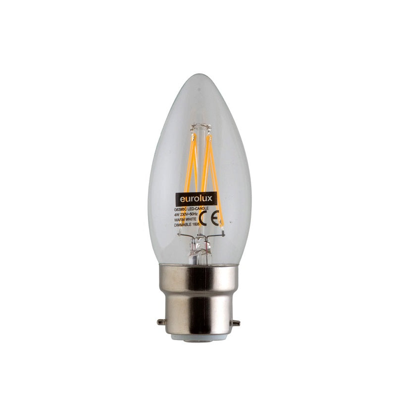 B22 Candle LED Filament 4W 3000K DIM E - Lighting.co.za