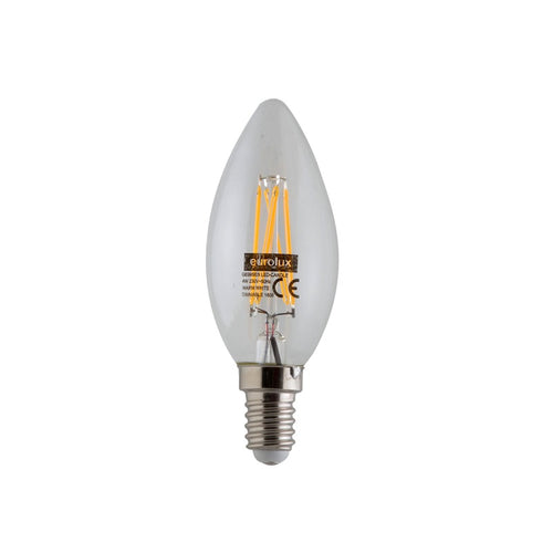 E14 Candle LED Fil Clear 4W 3000K DIM E - Lighting.co.za
