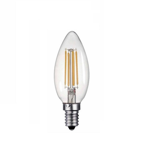E14 Candle LED Filament Clear 4W 3000K Non Dim E - Lighting.co.za