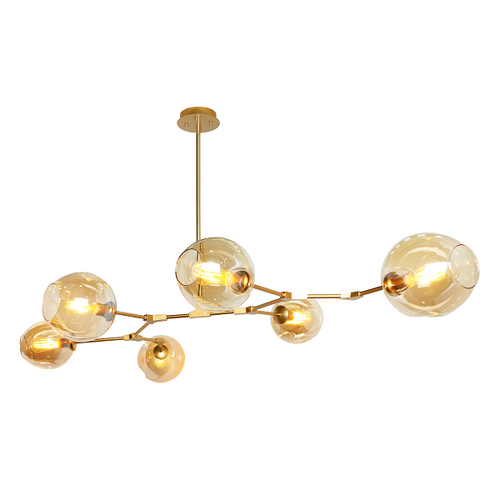 Amador Classic Branch 6 Light Smoke or Amber Glass Pendant Light - Lighting.co.za
