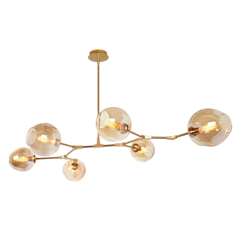 Amador Classic Branch 8 Light Smoke or Amber Glass Pendant Light - Lighting.co.za