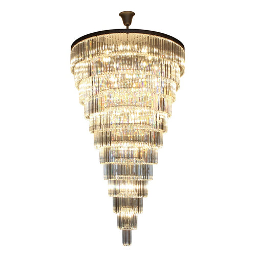 Grace Grandiose Charcoal and Clear K9 Crystal 12 Tier Chandelier - Lighting.co.za