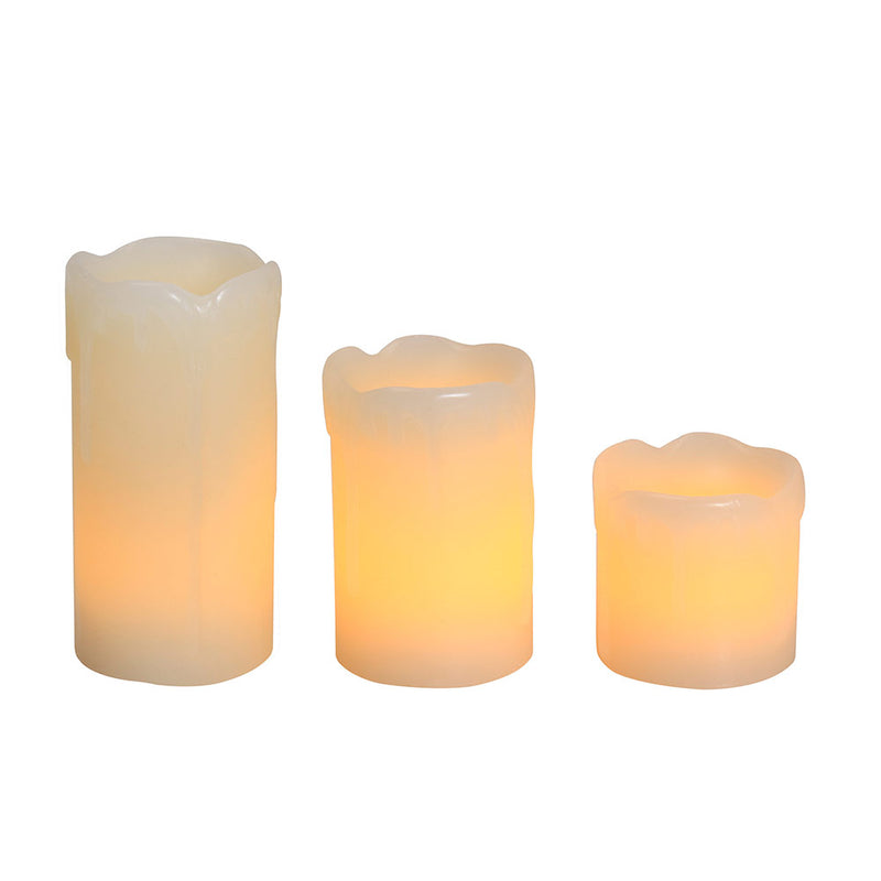 LED CANDLE FLAMELESS DRIPPING EFFECT 3 PCS - Lighting.co.za