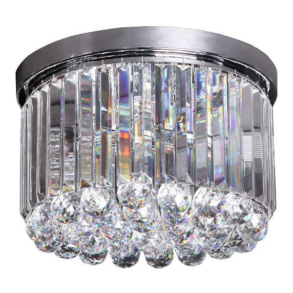 Poppy Chrome And Clear K9 Crystal Ceiling Light - Lighting.co.za