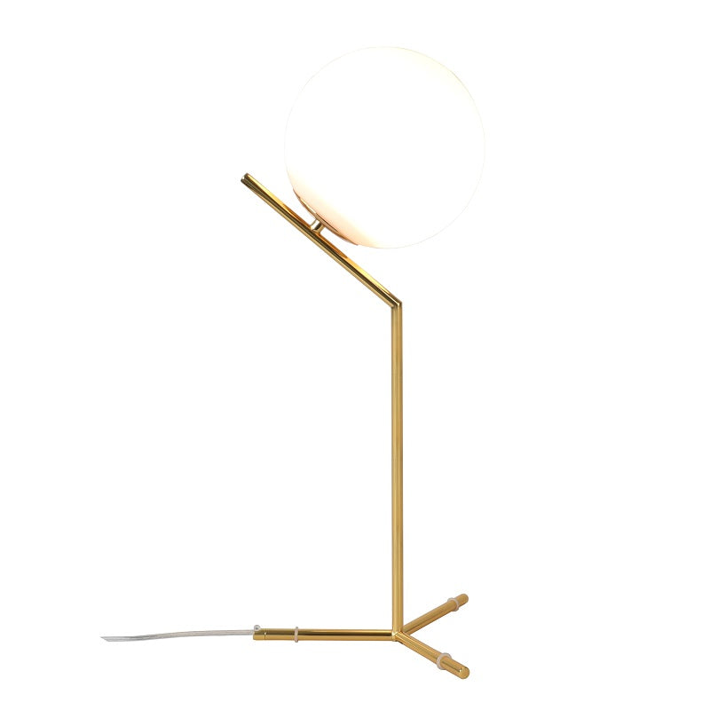 Hampton Long Frosted Glass and Gold Nordic Table Lamp - Lighting.co.za