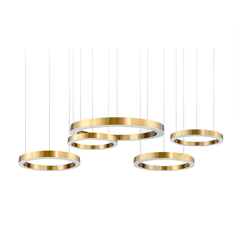 Hoop Brushed Brass LED Ring Pendant Light 3 Sizes - Lighting.co.za