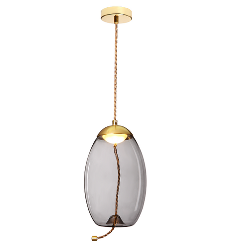 Droplet Amber | Smoke Glass LED Gold And Rope Pendant Light - Lighting.co.za