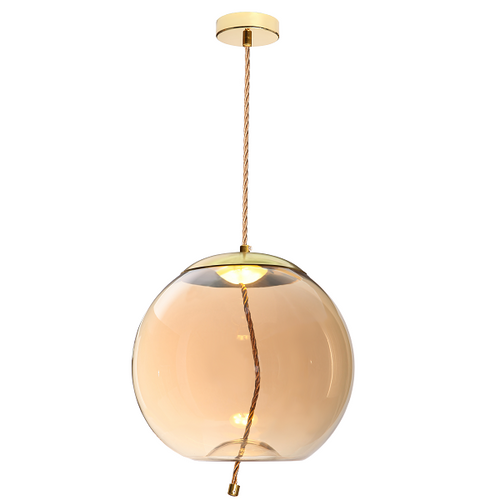 Droplet Amber | Smoke Glass Orb LED Gold And Rope Pendant Light - Lighting.co.za