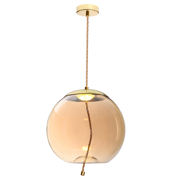 DROPLET GLASS ORB LED GOLD AND ROPE PENDANT - Lighting.co.za
