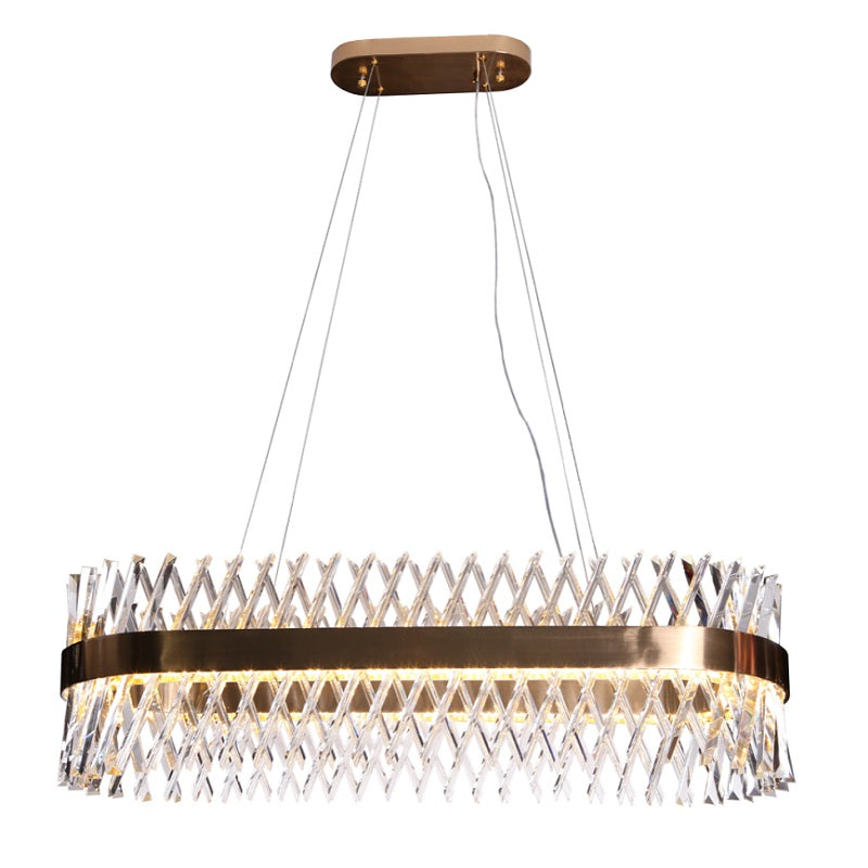 Lira Gold And Clear K9 Crystal LED Oval Chandelier - Lighting.co.za
