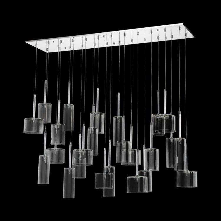 Francis 24 Light Chrome And Clear Glass Rectangular Cluster Pendant Light - Lighting.co.za