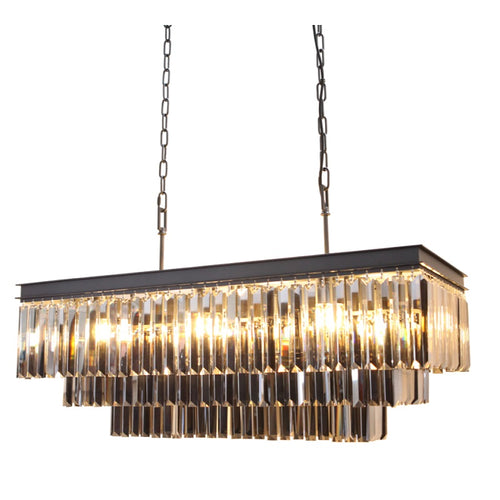 Laurel Rectangular K9 Smoke Crystal Chandelier - Lighting.co.za