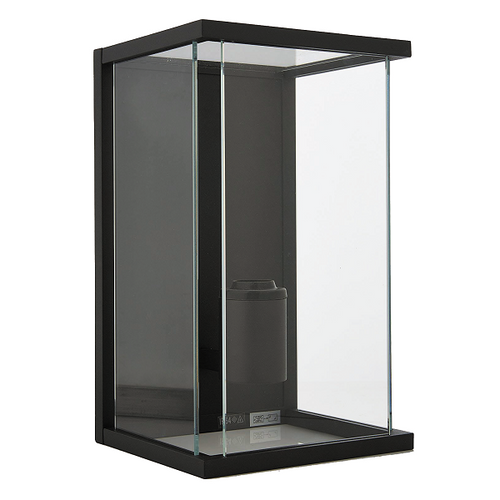Devon Cube Black And Clear Glass Outdoor Wall Light - Lighting.co.za
