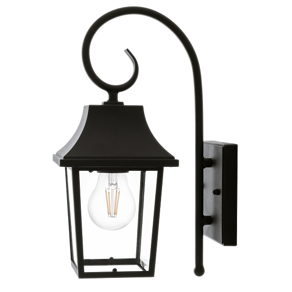Oxford Black And Clear Glass Outdoor Lantern Wall Light - Lighting.co.za