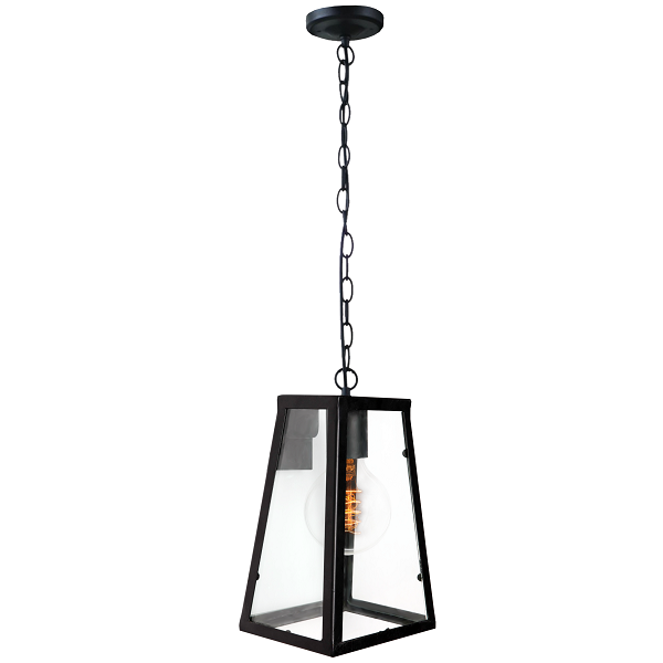 Grayson Black And Clear Glass Lantern Outdoor Pendant Light - Lighting.co.za