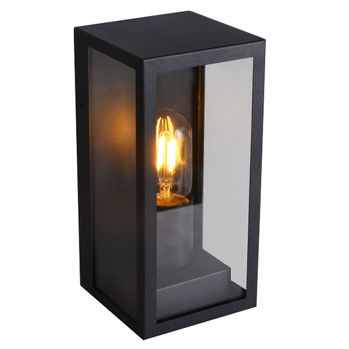 Norfolk Black And Clear Glass Outdoor Lantern Wall Light - Lighting.co.za