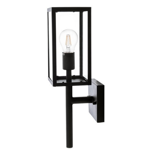 Meridian Black And Clear Glass Lantern Outdoor Wall Light - Lighting.co.za