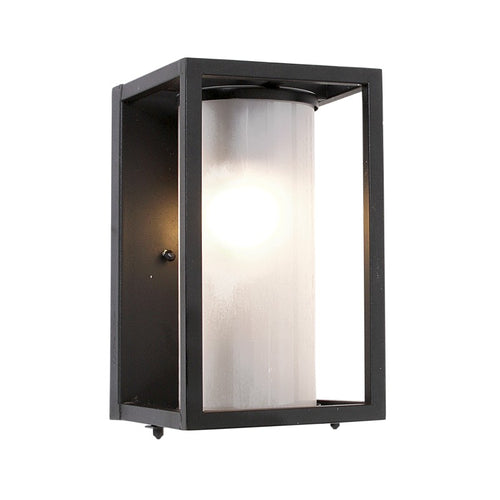 Austen Black Cube And Glass Outdoor Wall Light - Lighting.co.za