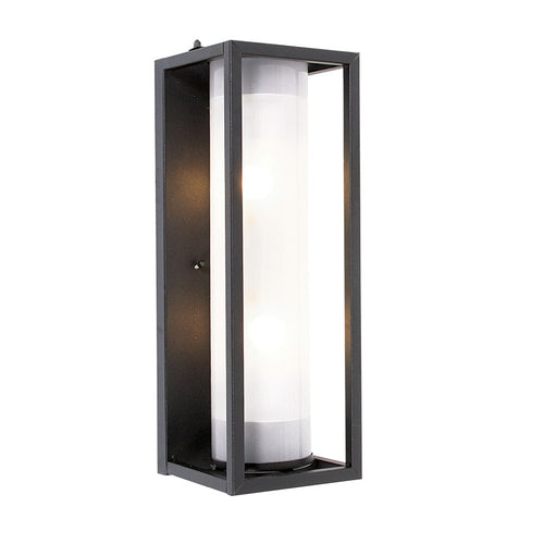 Austen Black Rectangle And Glass Outdoor Wall Light - Lighting.co.za