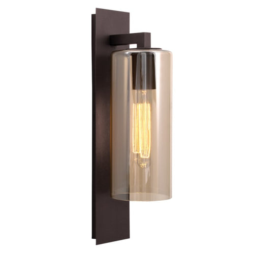 Lavaza Bronze Brown And Amber Glass Outdoor Wall Light - Lighting.co.za
