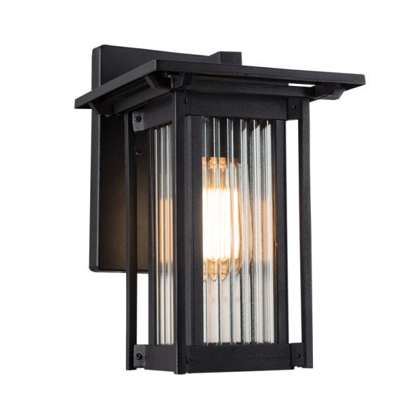 Antico Black And Glass Outdoor Lantern Wall Light - Lighting.co.za