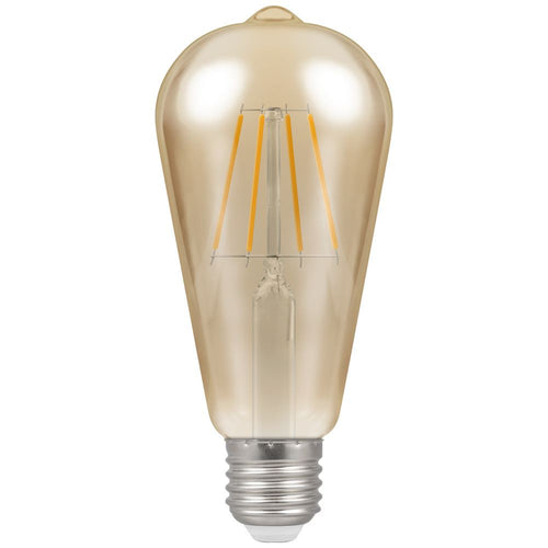E27 ST64 Amber Birdcage LED FIL 6W 2700K Dim B - Lighting.co.za