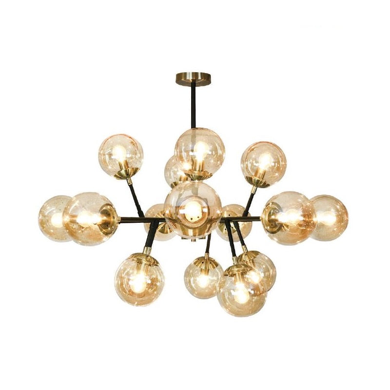 Manor Black Brass And Amber Glass 18 Light Ceiling Light - Lighting.co.za