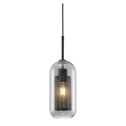 New York Tall Black Or Gold Metal Mesh And Glass Pendant Light - Lighting.co.za