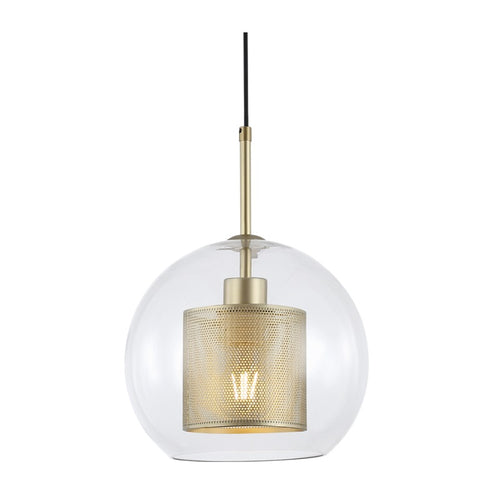 New York Ball Black Or Gold Metal Mesh And Glass Pendant Light 2 Sizes - Lighting.co.za