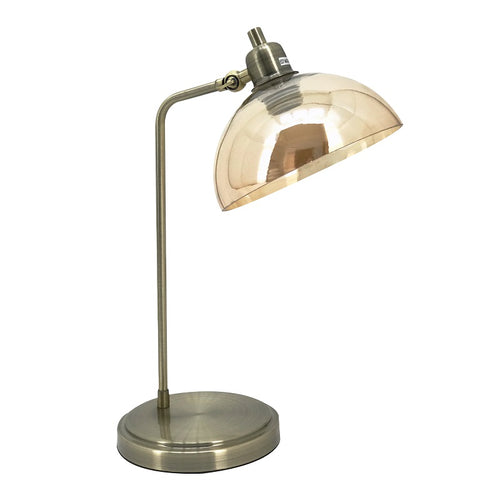 Lola Antique Brass and Amber Glass Desk Lamp - Lighting.co.za