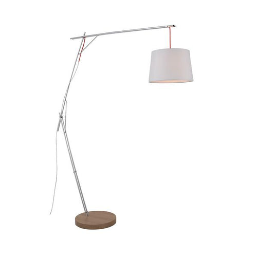 Mantis Black Or White And Wood Cantilever Floor Lamp - Lighting.co.za