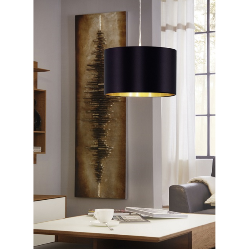 MASERLO SMALL TAUPE OR BLACK AND GOLD SHADE PENDANT - Lighting.co.za