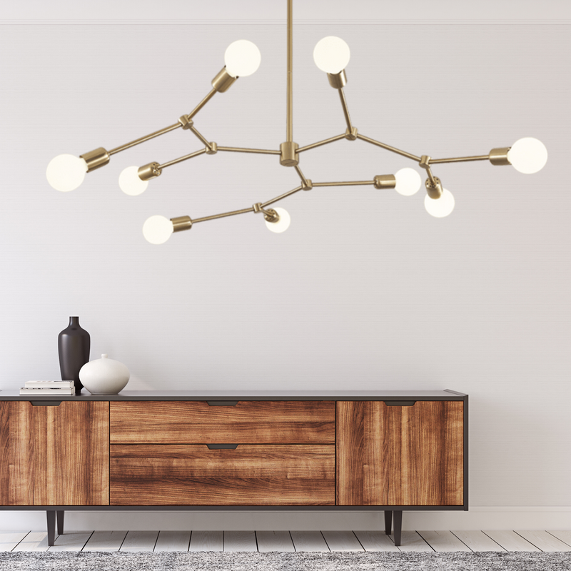 Molecule 9 Light Brass Pendant Light - Lighting.co.za