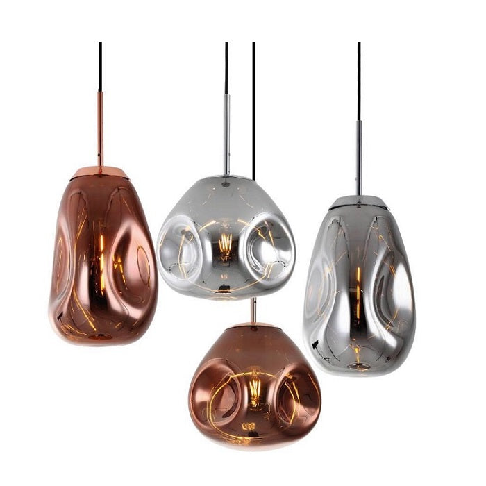 Morpheus Oval Or Round Copper Or Smoke Glass Pendant Light - Lighting.co.za