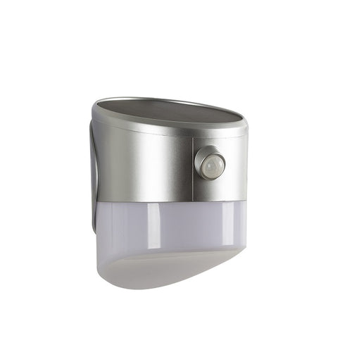 Silver LED Solar With Sensor Outdoor Wall Light - Lighting.co.za