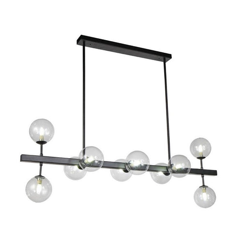 Orion Sphere And Stem Black And Clear Glass Pendant Light - Lighting.co.za
